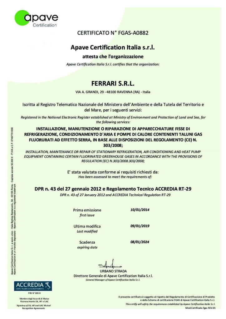 Certificato di conformità di prodotto F-GAS