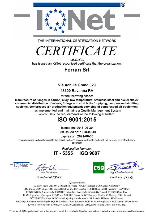 Certificato IQNET ISO 9001:2008