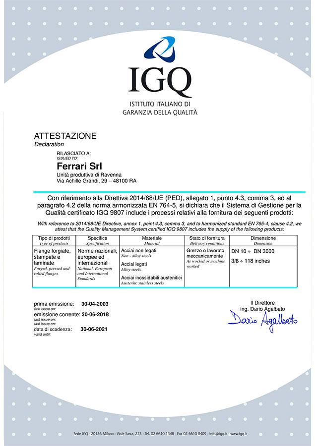 Certificato IGQ 2014/68/UE (PED)