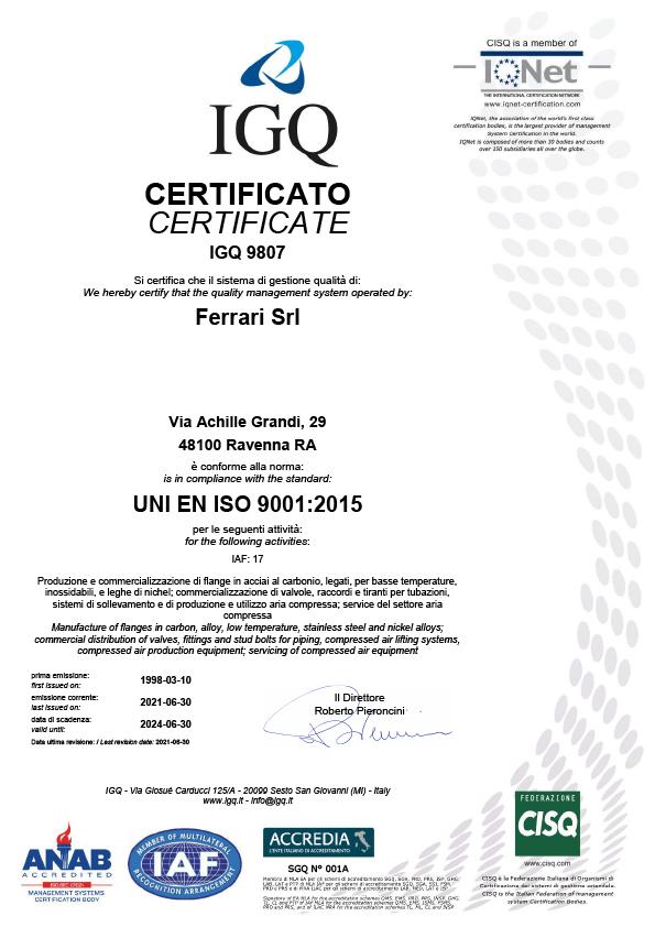Certificato IGQ UNI EN ISO 9001:2008